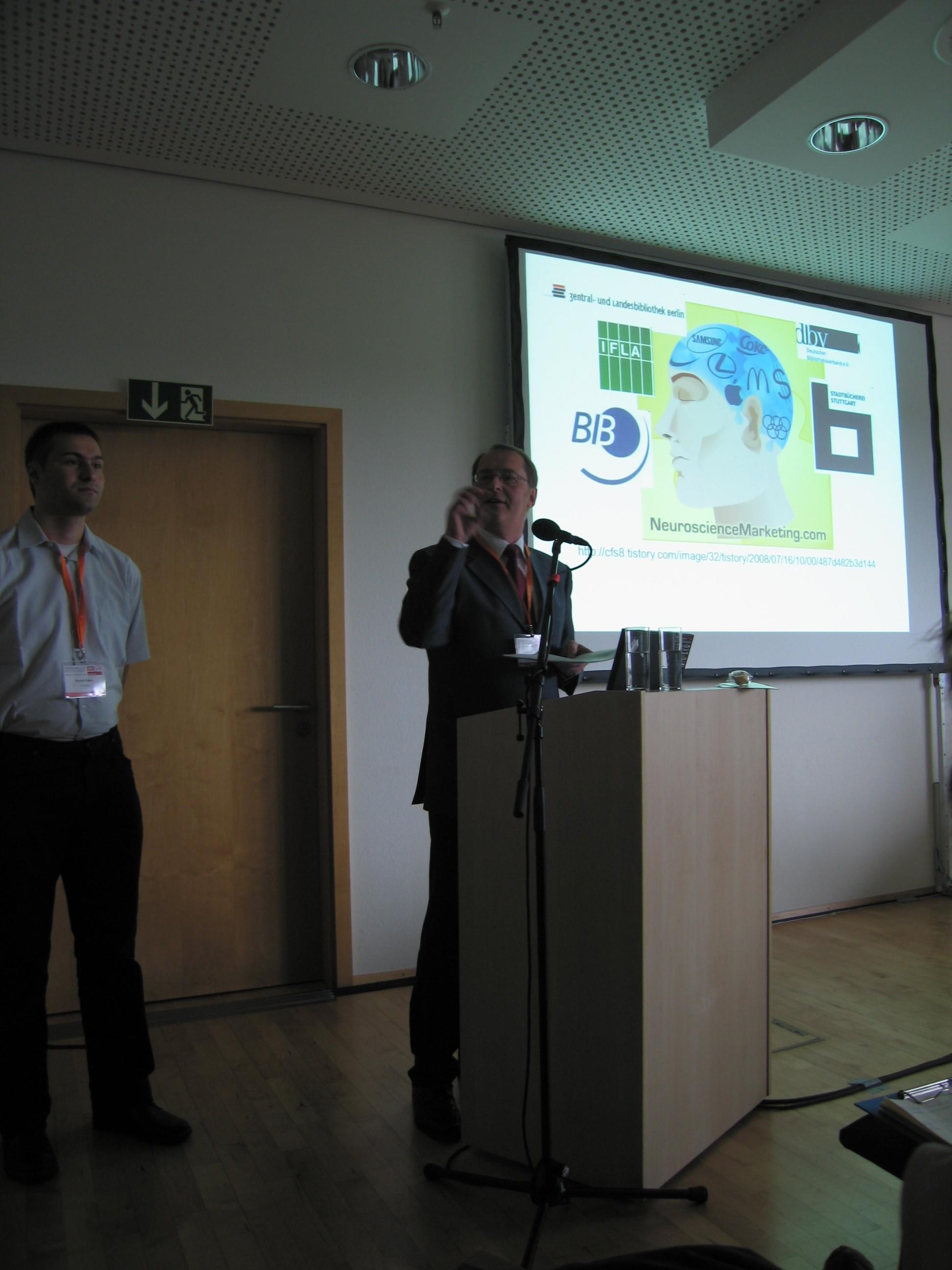 Ronald Kaiser und Prof. Dr. Wolfgang Ratzek am Bibliothekartag 2009 in Erfurt zum Thema Storytelling